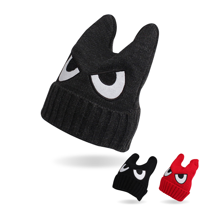 Knit Cartoon Baby Hat Big Eyes Cute Beanie For Boys Fashion Toddler Baby Girls Hat With Ears Spring Autumn Baby Boys Clothing