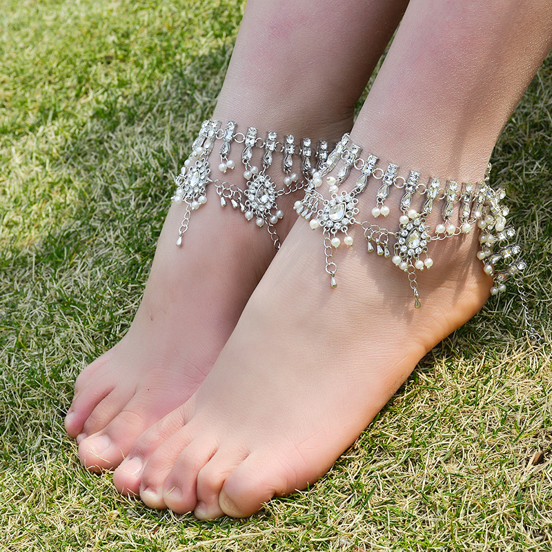 1 Pc Bridal Barefoot Sandals Alloy Engraving Pearl Multi -7622