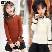 Детский свитер; вязаные свитера для маленьких девочек; осень г.; пуловер кофейного, желтого, белого цвета; свитера для маленьких девочек