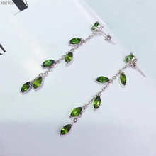 gemstone jewelry manufacturer fashionable 925 sterling silver natural green diopside leaves-designed stud earrings for women natural green diopside stone pendant 925 sterling silver natural gemstone pendant necklace trendy chinese knot women jewelry