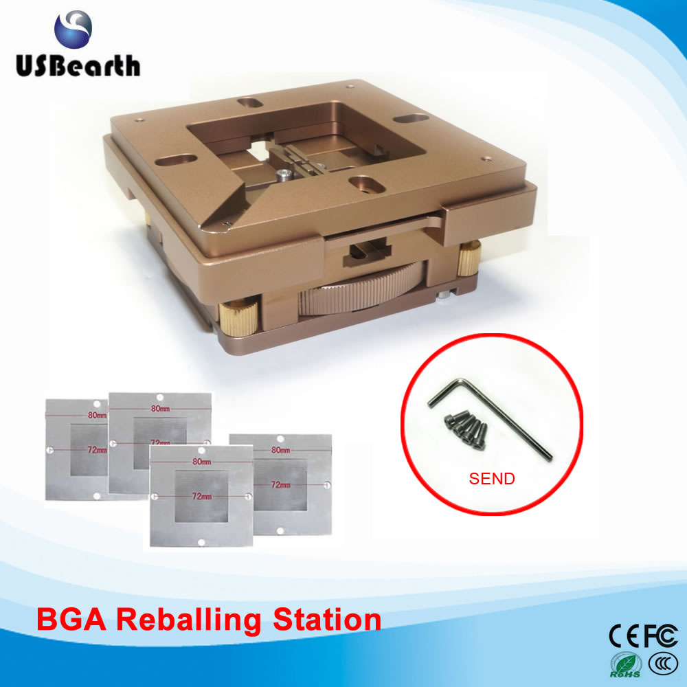 BGA Reballing Kit Soldering Station 80mm/90mm Auto Lock Accurate Position Multi-Sides Adjustment with 4pcs Universal Stencils latest laptop xbox ps3 bga 170pcs template bga kit 90mm for chip reballing