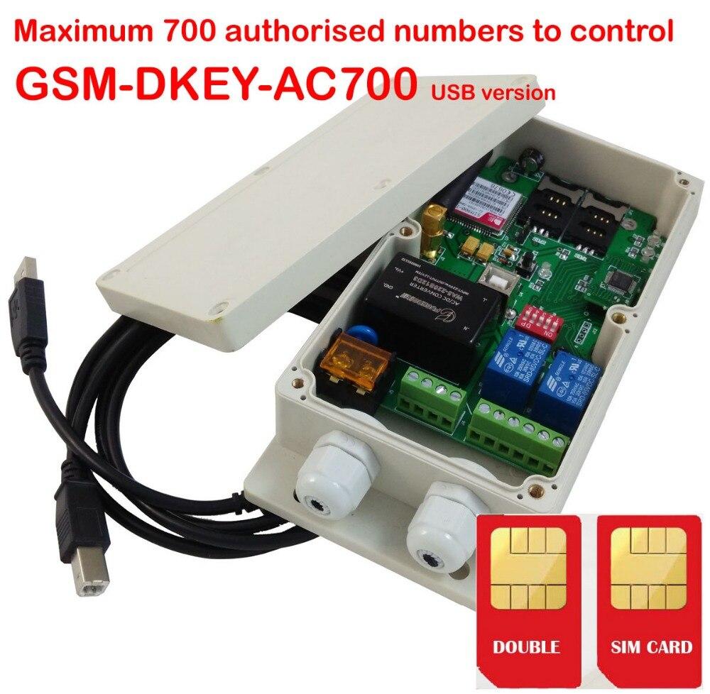 Double entrée d'alarme et Double sortie relais Double carte SIM GSM ouvre-porte