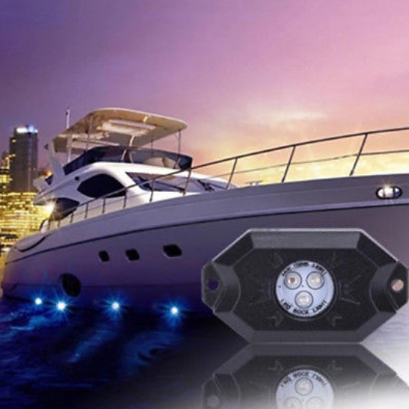 8PCS RGB LED Rock Lights Wireless Bluetooth Music Boat Interior Marine Deck Light RGB Accent Pod