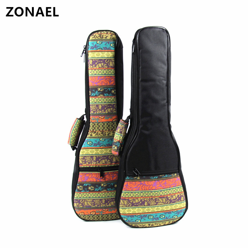 ZONAEL 21 23 26 Inch Ukulele Bag Backpack Small Portable Guitar Shoulder Gig Bag Folk Style Ukelele Case Guitar Accessories