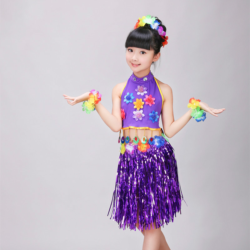 YuJiao Dancewear Chinese Clothes Store Hawaiian Grass Skirt Kit Hula Mini Skirt /top Party Dress Costume Event  Party Supplies Gift for Girls Belly Dance Skirt