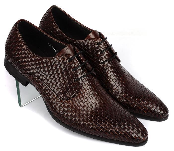 Zapatos de vestir de oficina de negocios de moda para hombre de cuero de punto zapatos de Oxford italianos zapatos de punta estrecha para fiesta de boda Formal Oxfords