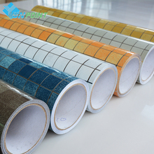 ФОТО 3m /5m Heat Transfer Vinyl Wall paper Kitchen Anti-oil Stickers Self adhesive wallpaper roll mosaic pvc wall stickers home decor