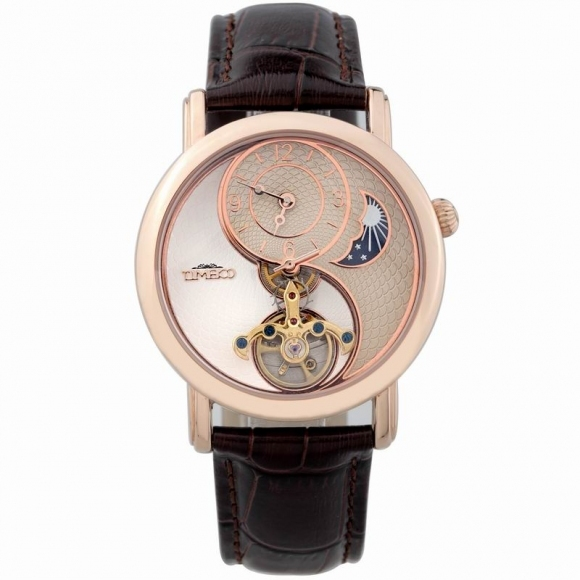 Brand new 2013 Time100  fashion moon phase watch stainless steel skeleto le rouage