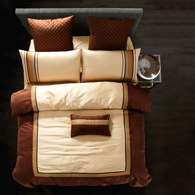 fresh simple silk bamboo fiber bedding sets brown beige solid linens queenking size sheets