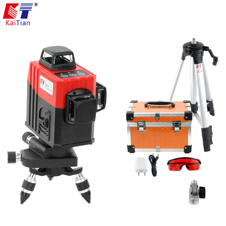 KaiTian 3D Laser Level Tripod 360 Rotary with Outdoor Tilt Function Self-Leveling 650nm Laser Beam Cross 12 Lines Level Nivel цена