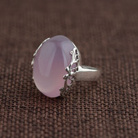 FNJ 925 Silver Ring Fashion Natural Pink Chalcedony Stone Real S925 Sterling Thai Silver Rings for Women Jewelry Adjustable Size