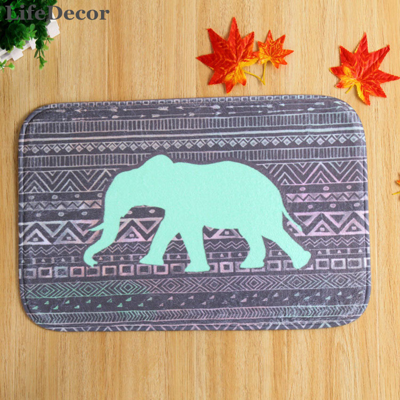 New 40x60cm Indian elephant Bath Mat Non-slip Mats Quality coral velvet Rug Shower Carpet for Bathroom Kitchen
