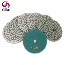 RIJILEI 7PCS/Set 3inch White Diamond Polishing Pads 80mm Wet Flexible polishing pad for Stone concrete floor Abrasive HC17