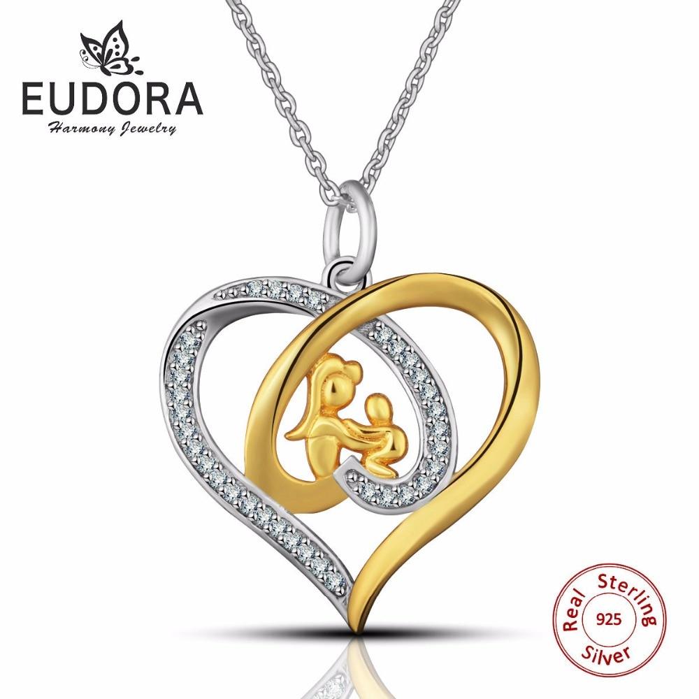 Eudora echte 925 sterling zilveren moeder sieraden kristal hart - Mode-sieraden