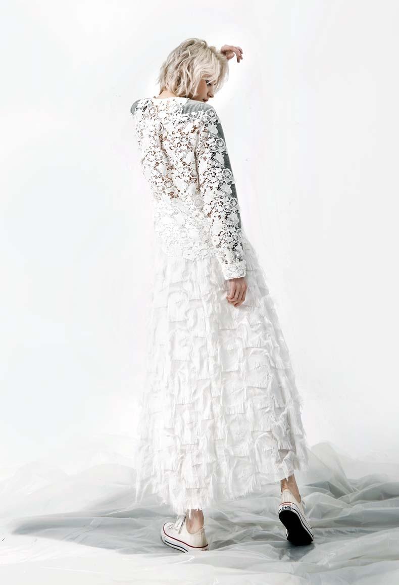 Femelle Nouvelle Tricoté Cardigan Soluble 2018 Européenne Dans Couture Dentelle L'eau Chandail Station Manteau Creux Automne SE5q1