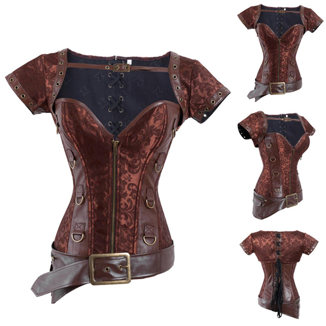 2016 Factory Directly Plus size Gothic Clothing Corselet Vintage Retro Warrior Corset Sexy Steel Boned Brocade Steampunk Corset