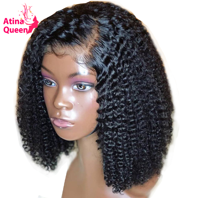 13x6 Deep Part 180 Density Afro Kinky Curly Short Bob Lace Front