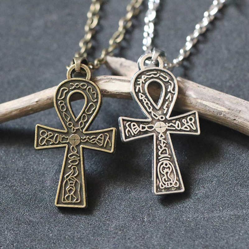 Egipski klucz życia Ankh krzyż wisiorek naszyjnik dla kobiet mężczyzn Vintage Antique srebrny brąz Choker Collier Bijoux ochrony