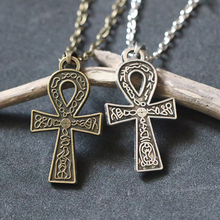 Egyptian Key of Life Ankh Cross Pendant Necklace For Men Women Vintage Antique Silver Bronze Choker Collier Bijoux Protection