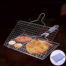 Stainless Steel BBQ Barbecue Grill Basket Grilling Net Pan for  Vegetables Camping Fishing Beach barbecue stainless steel clip цена