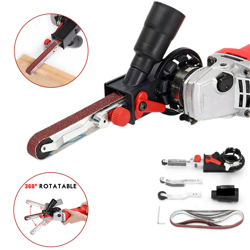 DIY M10/M14 Sanding Belt Adapter Attachment Converting 100/115/125mm Electric Angle Grinder To Belt Sander Wood Metal Working