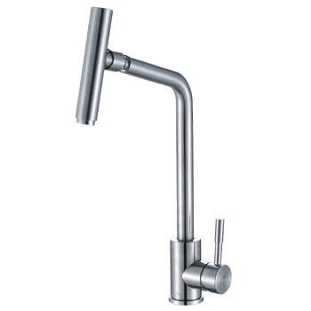 304 stainless steel kitchen hot and cold faucet single hole single handle rotary sink faucet  lo4111