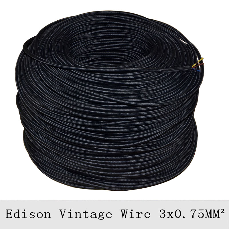 Pendant Light Cable: 3*0.75mm2 Vintage Lamp Cord Black Braided Electrical Wire