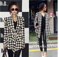 TFGS 2016 Fashion Spring Autumn Jacket Women Long Sleeve Houndstooth Print Top Casual Slim Belt Peplum Cardigan Coat Outerwear