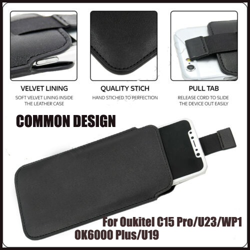 Casteel PU Leather Case For <font><b>Oukitel</b></font> <font><b>C15</b></font> <font><b>Pro</b></font> U23 WP1 OK6000 PLUS U19 Pull Tab Sleeve Pouch Bag Case <font><b>Cover</b></font> image
