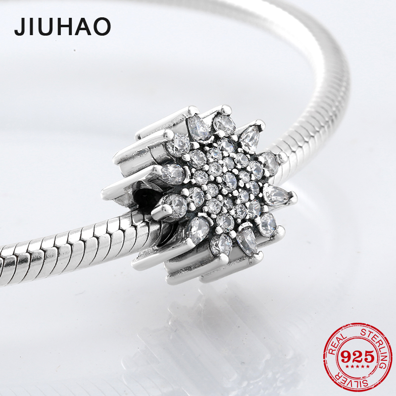 Sunflower pave Radiant Crystal Zircon Beads 925 Sterling Silver charms Fit Original Pandora Charm Bracelet Jewelry making 2018