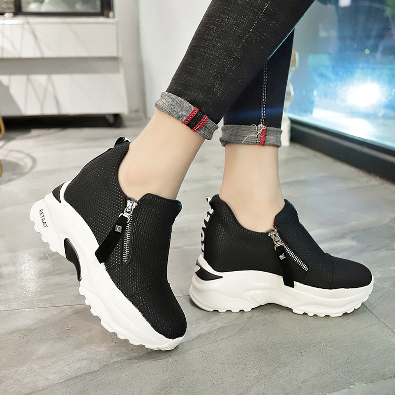 Lucyever 2019 New Spring Ladeis Casual Sneakers Women Height Increasing Vulcanized Shoes Woman Footwear Leisure Ankle Boots 17