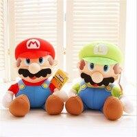 Novo 25 cm Super Mario Bros Fique MARIO LUIGI Plush Toys Stuffed Toy Boneca para Crianças Presente de Aniversário