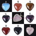 Silver Plated Natural Stone Concise Heart Reiki Pendant Charms Women Amulet European Classic Jewelry Mixed 16pcs