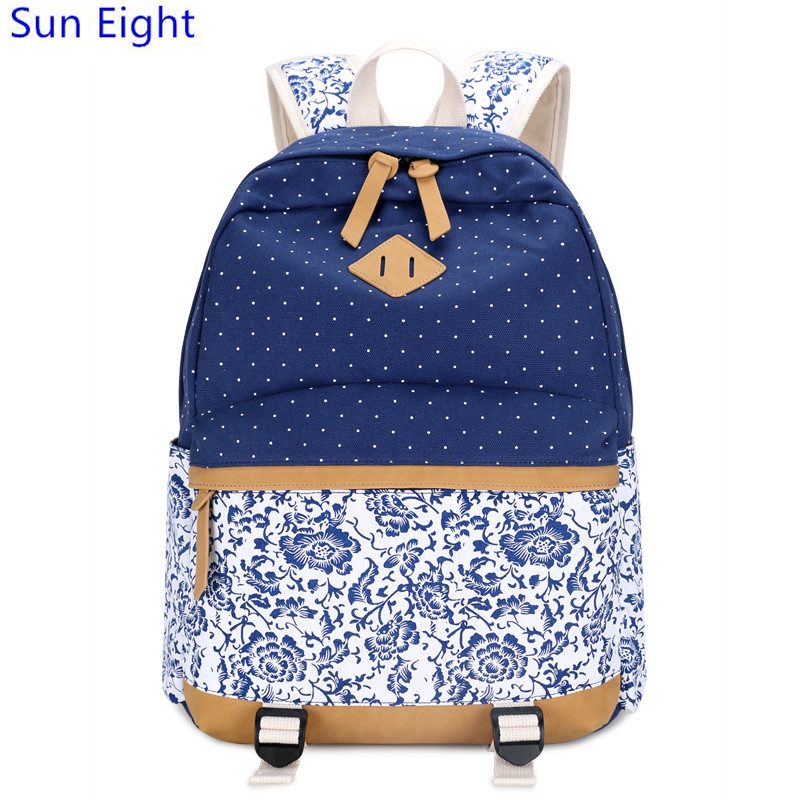 Sun Eight brand mochila female vintage canvas backpack black flower bag for  laptop printing backpack women travel bags schoolbag 3f1ce33f48ce4