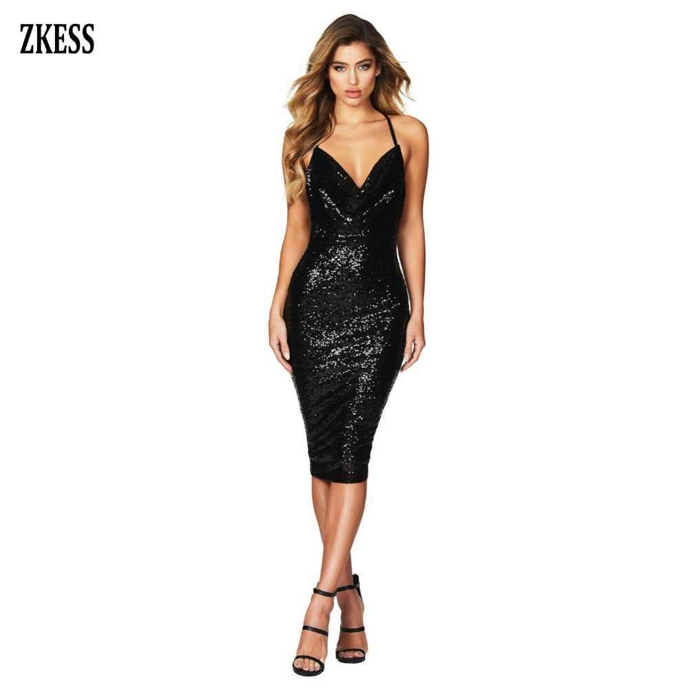 f274726c15fdc Zkess Women Black Red Seductive Sequined Midi Club Dress Sexy Draped V Neck  Low Open Back Sleeveless Party Bodycon Dress 610927