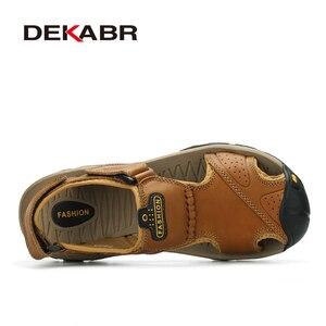 Image 2 - DEKABR Sandalias de piel auténtica para hombre, zapatos informales transpirables, para la playa, para verano, 2020