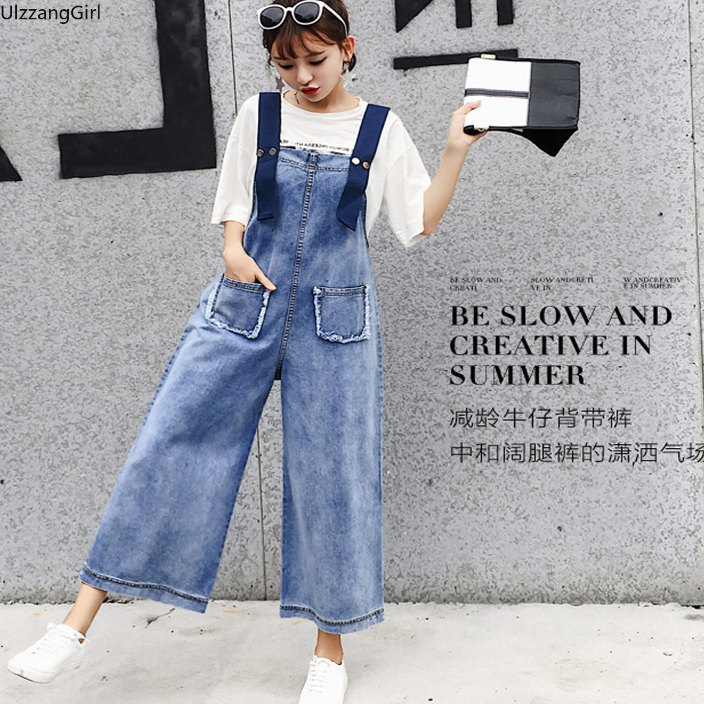 Plus Size Vintage Pocket Suspender Overalls Korean Women Loose Straight  Wide Leg Denim Pant Ankle-Length Casual Sweet Romper Top