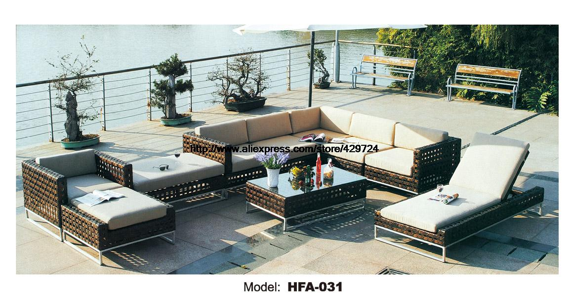 Extra Large Outdoor Furniture U Shaped Rattan Sofa with Chaise Longue Lying Chair 2016 New Garden Outdoor Sofa Ratten Furniture circular arc sofa half round furniture healthy pe rattan garden furniture sofa set luxury garden outdoor furniture sofas hfa086