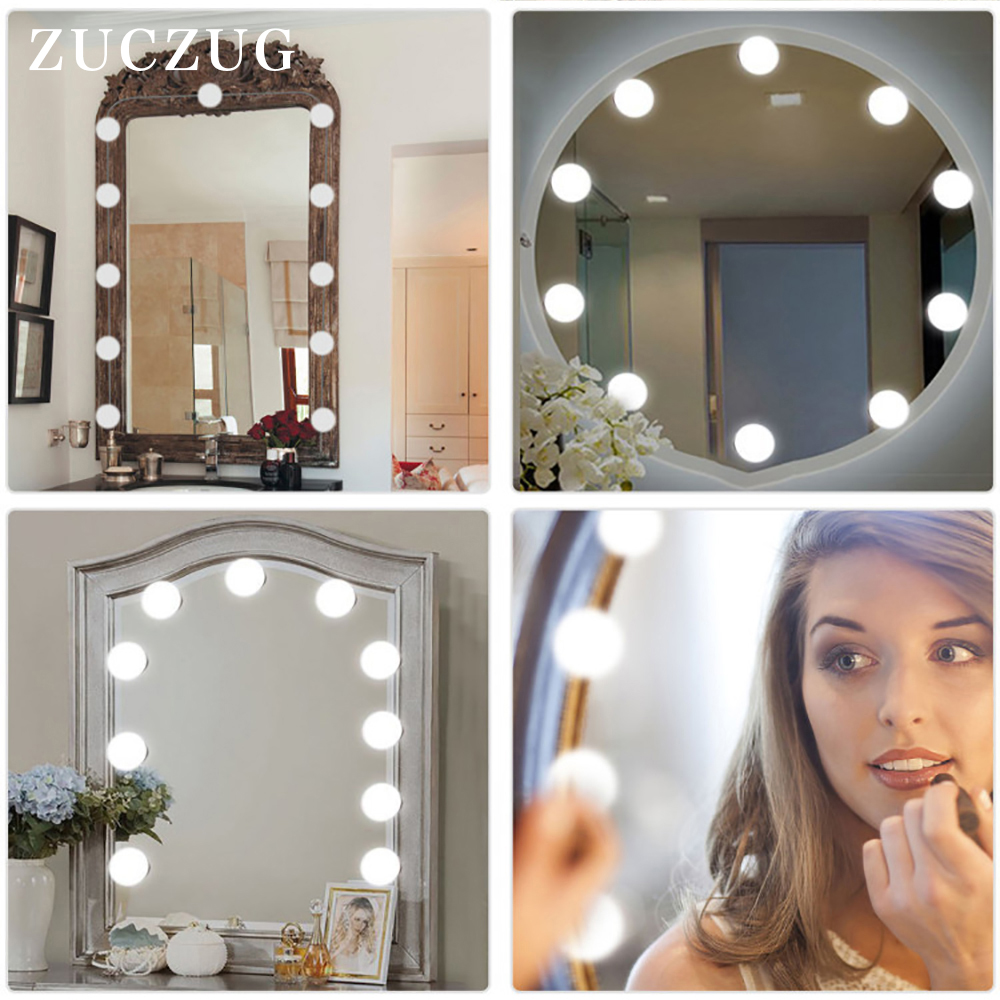 New Amazon Simple Modern Mirror Headlight Bathroom 12v 10 Bulbs Kit Formakeup Lights Five Stage Dimmered Led Mirror Lights