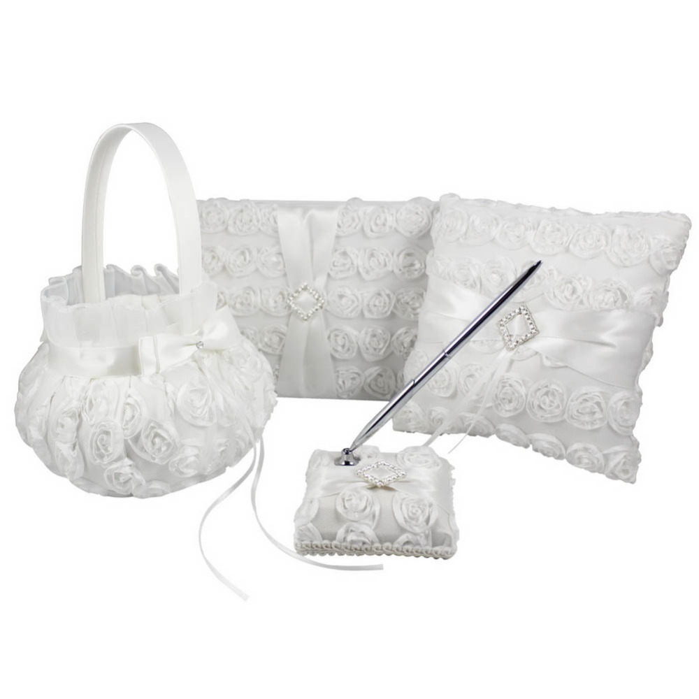 4Pcs / lot Біла квітка прикраси Весільна гостьова книга & Pen Set & кільце подушку & дівчаток квіткові кошики декор Люкс продукти