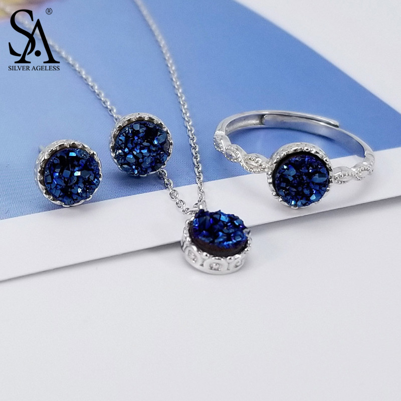 SILVER AGELESS 925 Sterling Silver Round Blue Agate Crystal 3-pieces Set Pendant Necklace Stud Earring Wedding Rings Jewelry Set blue gemstones decor four pieces jewelry set page 6