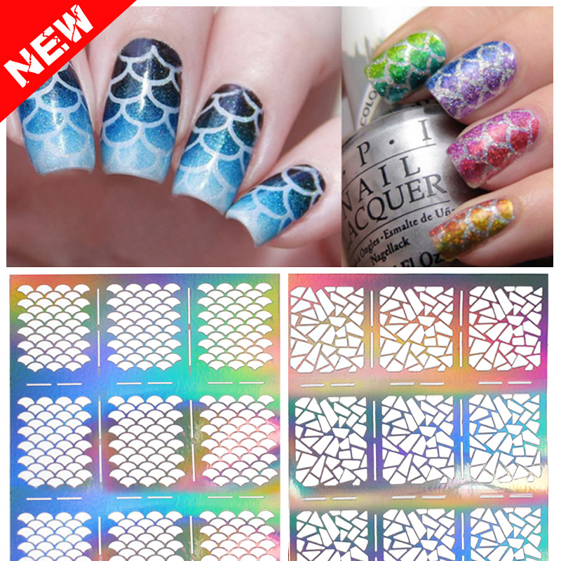 1sheet Silver Hollow Nail Art Template Stencil Stickers Fish Scale Vinyls Image Polish Design Guide Manicure Tools any hollow out nail template stickers laser star wheel triangle pattern nail sticker designs nail art