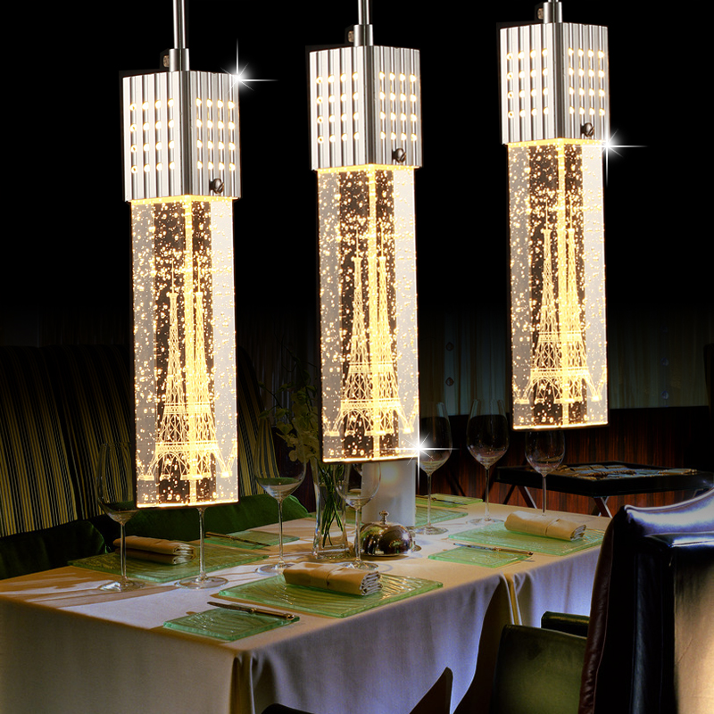 ФОТО Modern Romantic Fashion Eiffel Tower 1 3 6 Heads Bubble Crystal Column Led Pendant Light For Dining Room Living Ac 80 265v