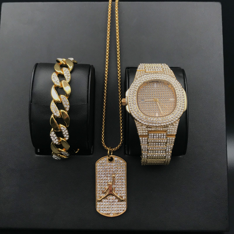 Luxury Men Diamond Gold Watch Hip Hop Men Watch & Bracelet &Necklace Combo Set Basketball Pendant Cuban Necklace Hip Hop For Men