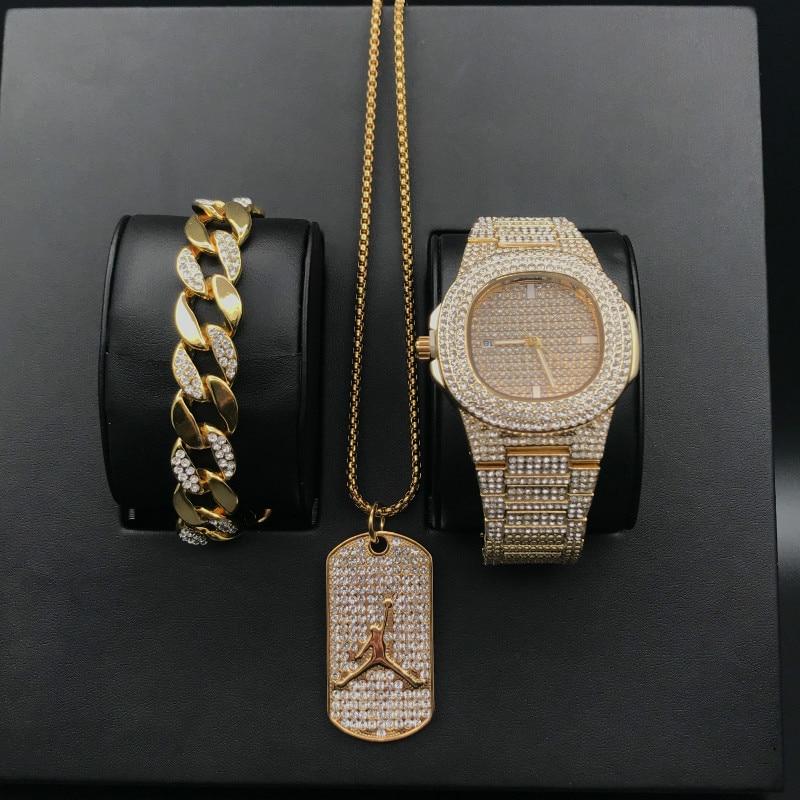 Luxury Men Diamond Gold Watch Hip Hop Men Watch & Bracelet &Necklace Combo Set Basketball Pendant Cuban Necklace Hip Hop For Men
