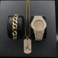 Luxury hip hop Diamond jewelry stylish watch & bracelet & Necklace Combo Set Watch Diamond Men Basketball Pendant Necklace set
