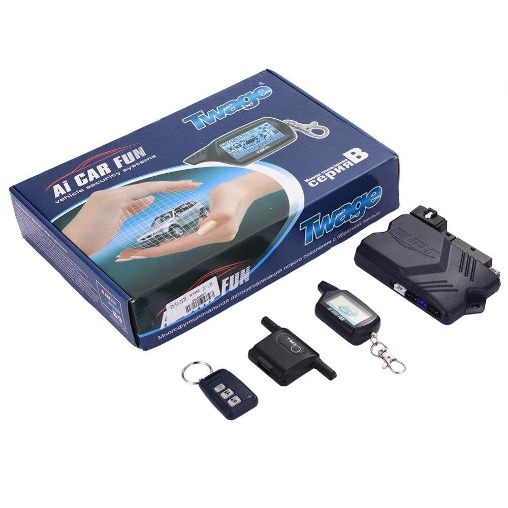 Livraison directe voiture bidirectionnelle alarme antivol porte-clés RC système antivol Version russe système d'alarme de voiture pour Twage B9 - 5