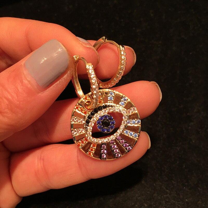 UMGODLY Brand Multicolor Zircon CZ Asymmetric Lucky Eye Earrings Women Fashion Pop Jewelry April New Arrival