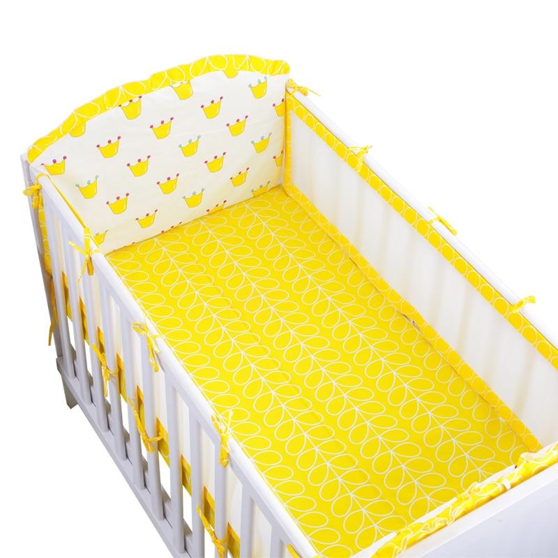 6 Pcs Set Yellow Crown Pattern Baby, Crown Baby Crib Bedding