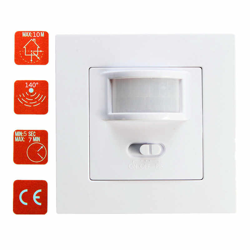 New 110V/AC-240V/AC Infrared PIR Motion Sensor Detector Light Switch 50-60Hz 140 Degree Sensor Recessed Wall Lamp Bulb Switch